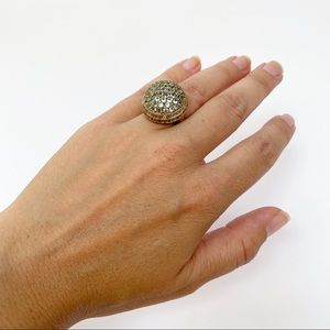 Cocktail Ring GE 14K Gold With Rhinestones Size 5